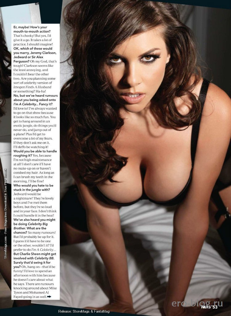 Busty Babe Imogen Thomas In Topless But Hiding Boobs At New Nuts Magazine Exxxtrasmall 1